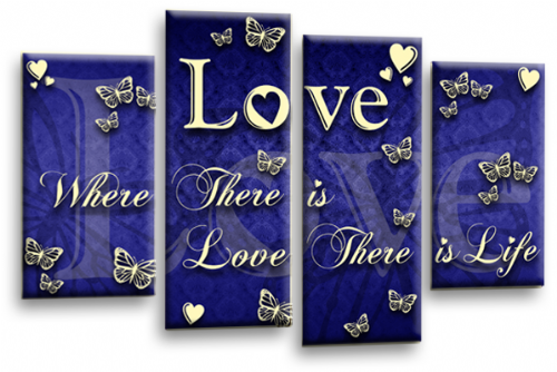 Love Quote Wall Art Print Blue Cream Family Picture